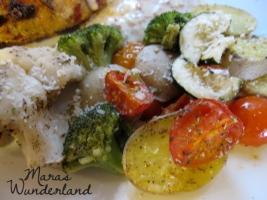 Schnitzel mit Walnus-Soße und Ofengemüse 03
